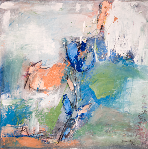 Gisela Rosenberger, Die blaue Blume, Acryl auf Leinwand