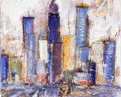 Gisela Rosenberger, die Stadt, Acryl auf Leinwand
