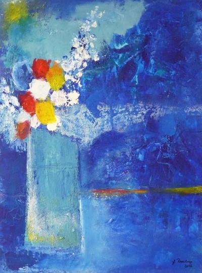 blaue Vase (2015) Acryl/Sand 60 x 80 cm