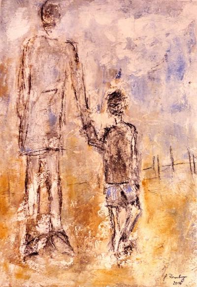 Vertrauen (2016), Acryl/Sand/Asche, 60 x 80cm