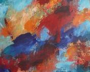 Wasser und Feuer (2015) Acryl/Sand 80 x 80 cm
