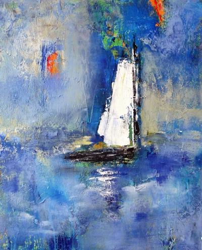 Sailing (2015) Acryl/Sand 80 x 100 cm