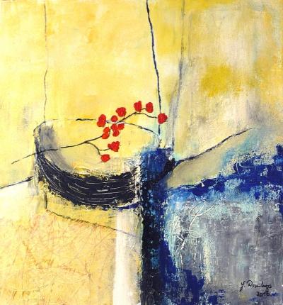 Schale mit Zweig (2016), Acryl/Sand, 50 x 50cm
