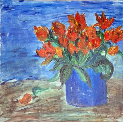 Tulpen in blauer Vase – Gisela Rosenberger